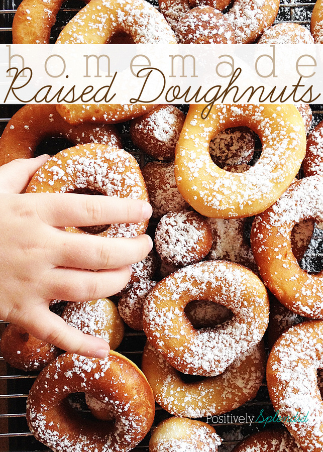 Homemade raised doughnuts--not as difficult as you think! Delicious recipe from Positively Splendid.
