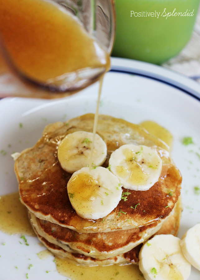 Coconut-banana pancakes with cinnamon honey butter. A perfect weekend breakfast treat!