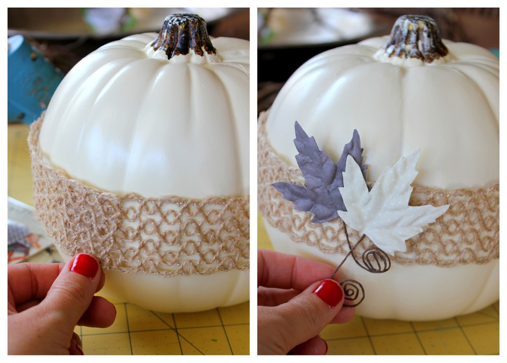 Decorate plain white pumpkins with burlap ribbon and paper embellishments. So simple! #MichaelsMakers