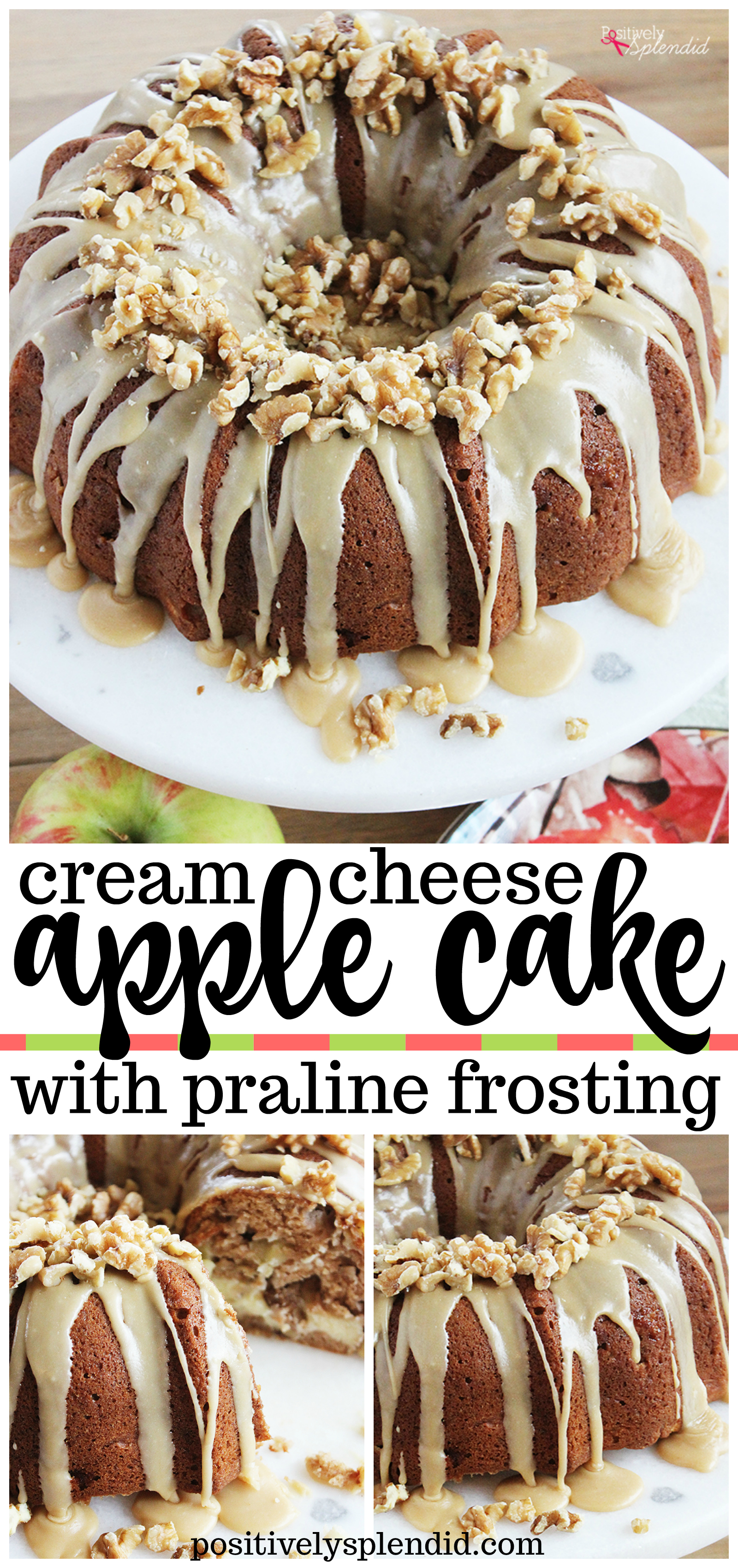 Apple Cream Cheese Cake with Praline Frosting - A delicious recipe to use fall apples!