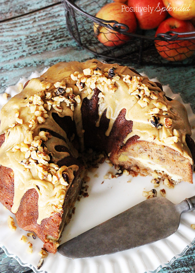 Utterly decadent! Apple-cream cheese cake with praline frosting. #fall #apples #cakes #desserts