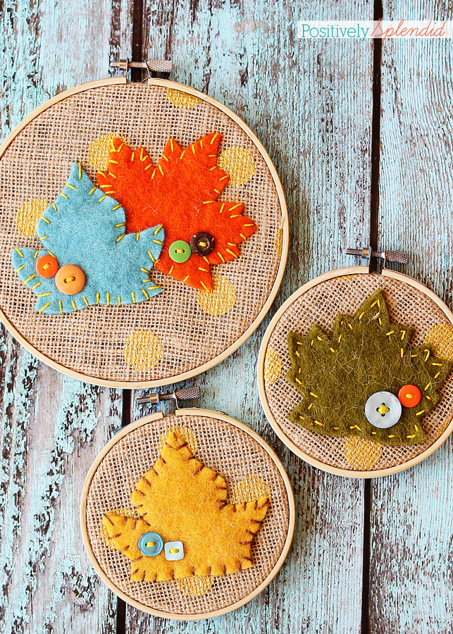 Felt leaf embroidery hoop art by Positively Splendid. Adorable and easy fall decor! #falldecor #fall #crafts #leaves #diy