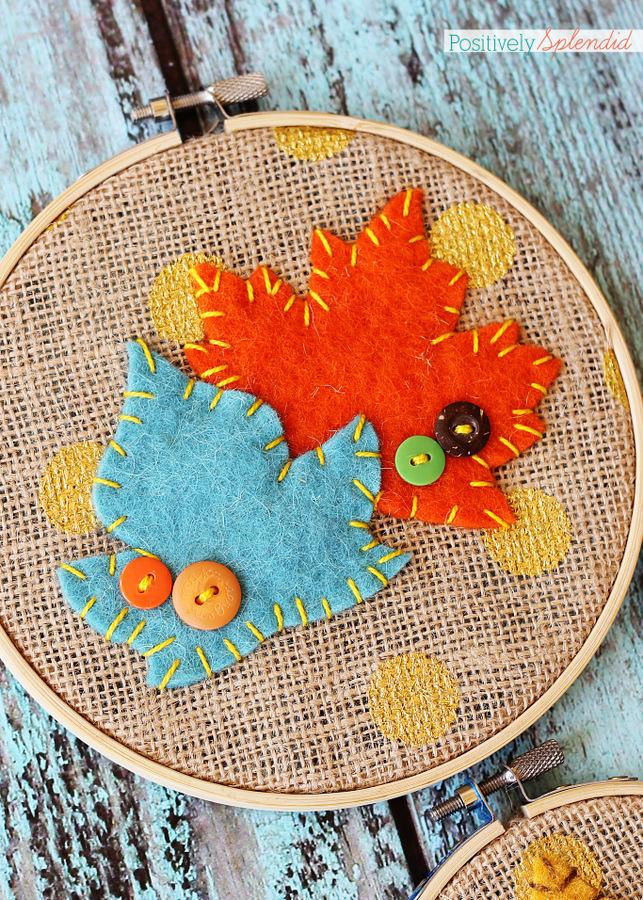 Felt leaf embroidery hoop art by Positively Splendid. Adorable and easy fall decor! #falldecor #fall #crafts #leaves #diy