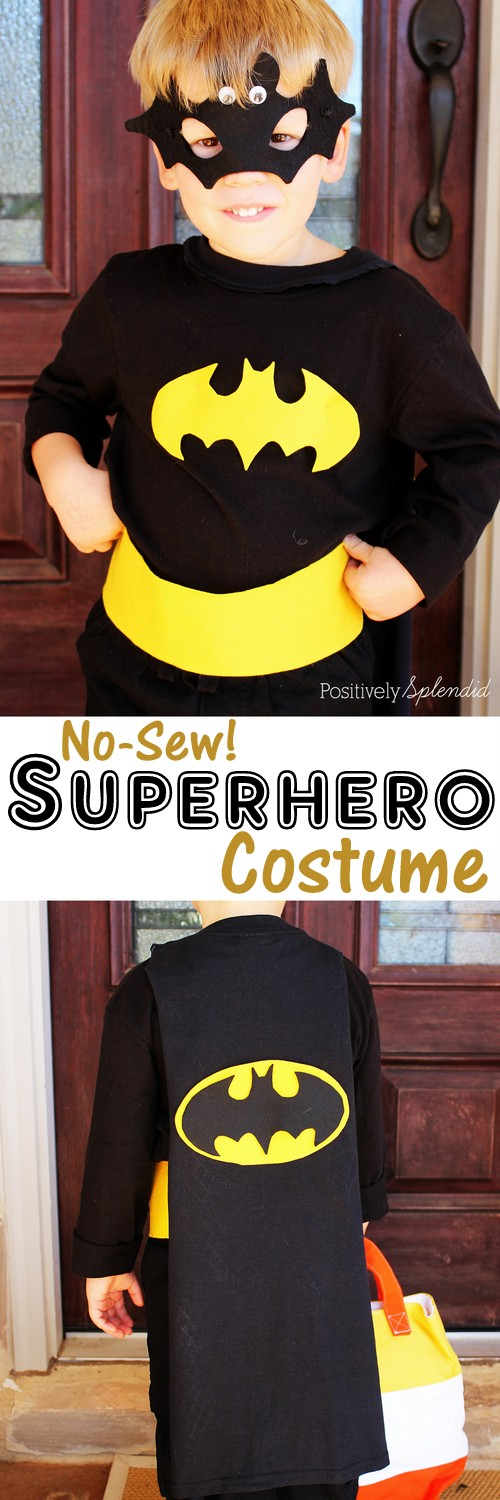 No-sew superhero costume at Positively Splendid #MichaelsMakers