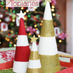 Striped and Glittered Holiday Topiaries