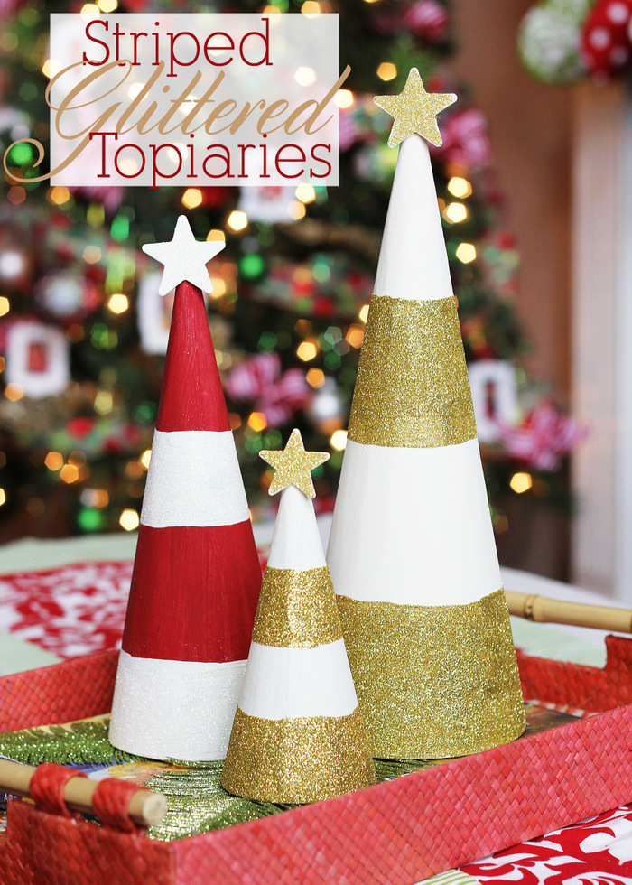 Striped Glittered Topiaries Title
