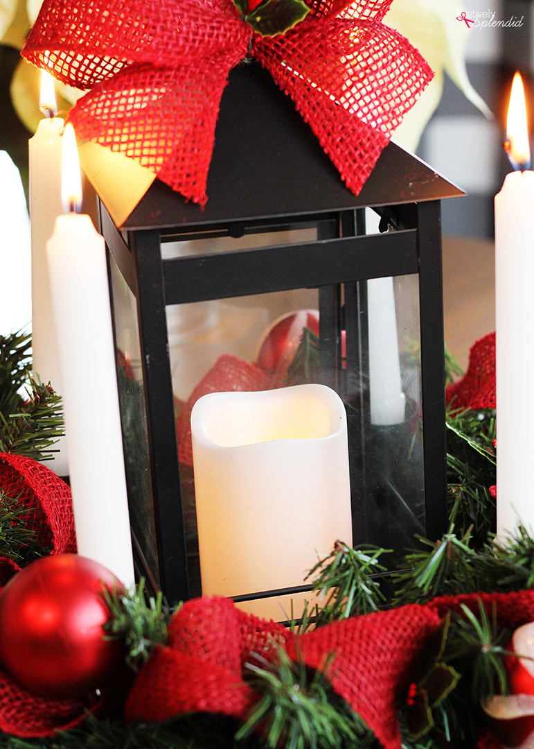 DIY Advent Wreath Lantern Centerpiece