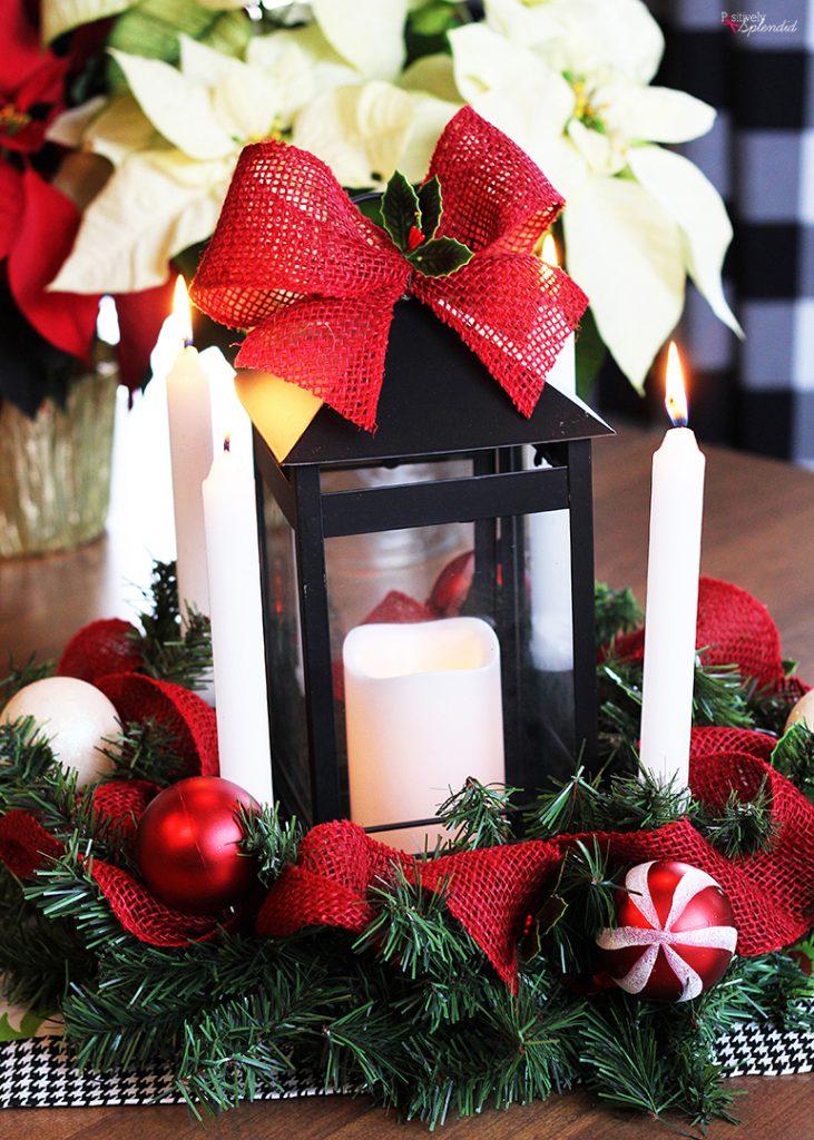 DIY Advent Wreath Lantern Centerpiece