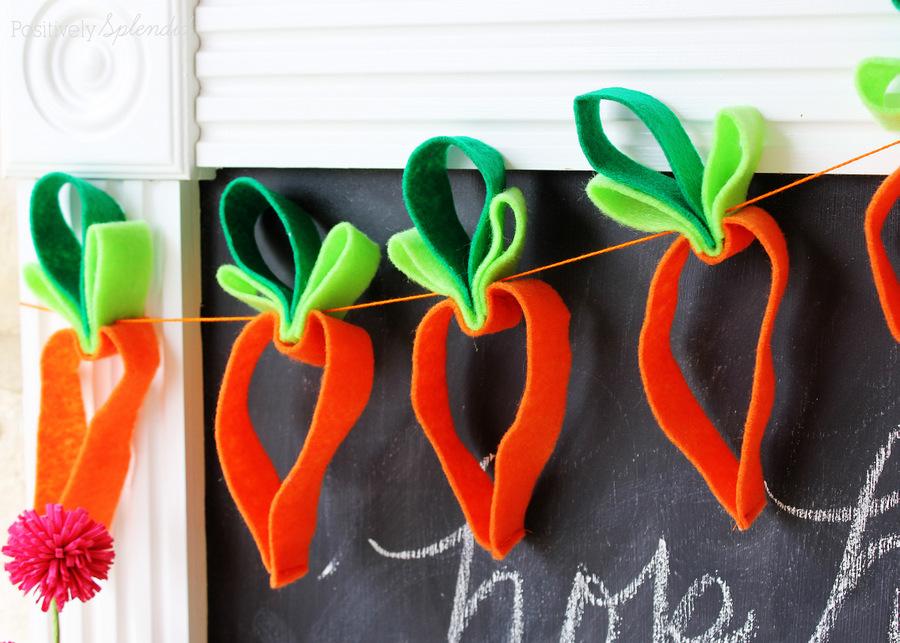 Adorable felt carrot garland. #HersheysEaster