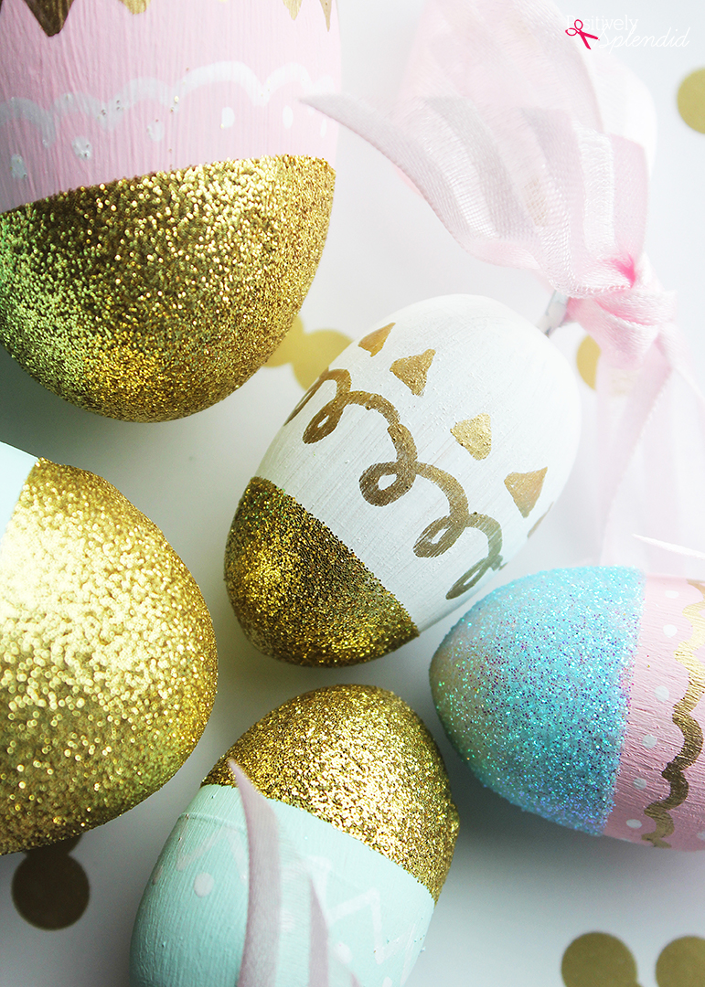 Painted and glittered Easter eggs--so pretty, and can be used year after year!
