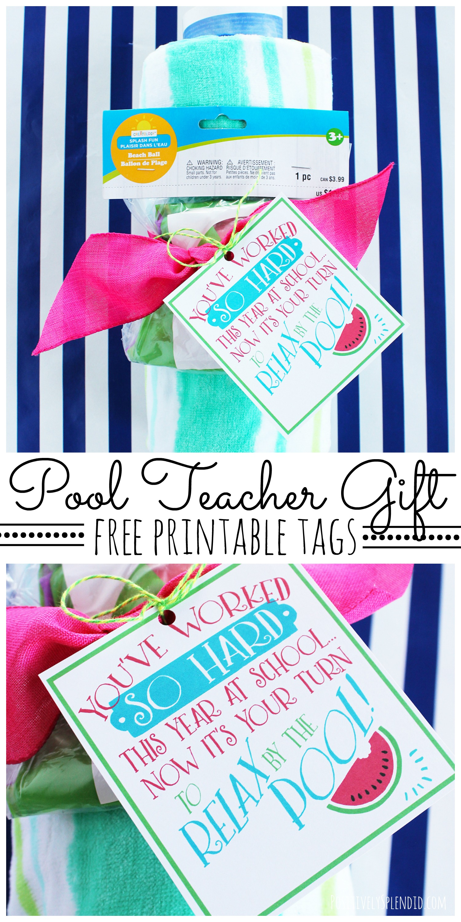 picture regarding Teacher Appreciation Tags Printable named Pool Trainer Present Notion with Totally free Printable Reward Tags