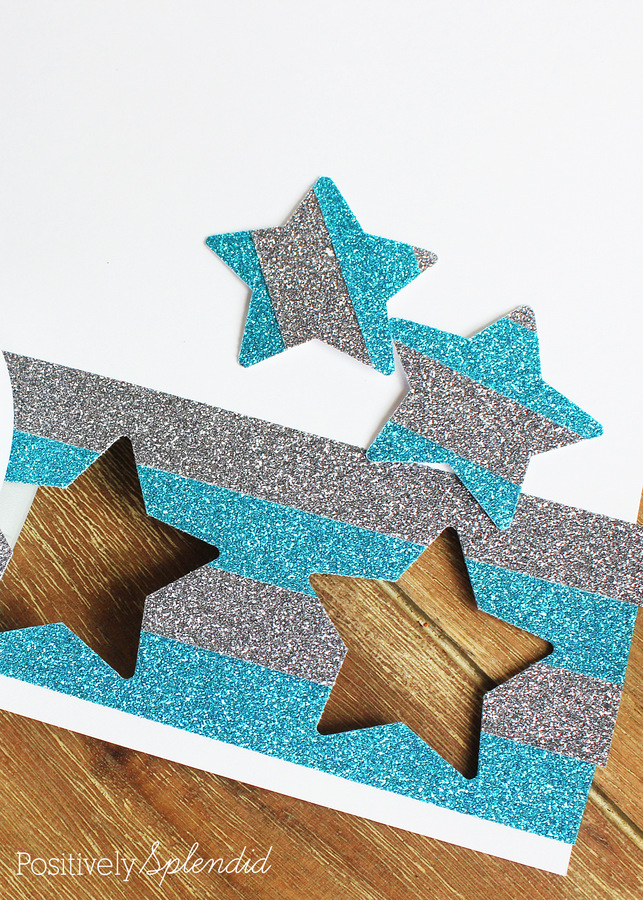 Glittered Star Garland  - Perfect for July 4th! #MakeAmazing