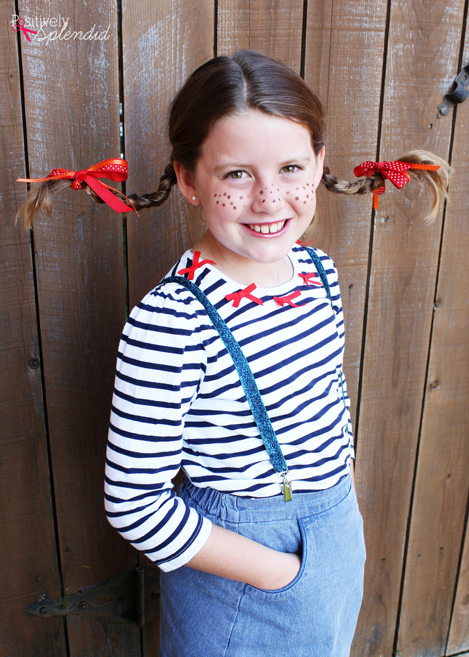 How to make a DIY Pippi Longstocking Costume - including the how-to for those famous pigtails! #MichaelsMakers
