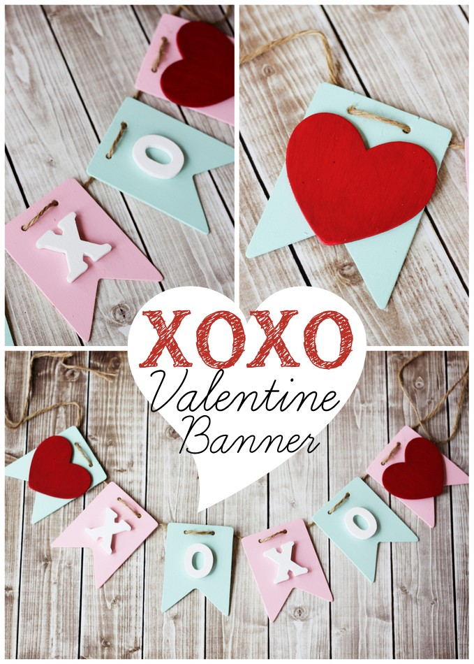 Such a sweet craft project for Valentine's Day! XOXO Valentine Banner at Positively Splendid