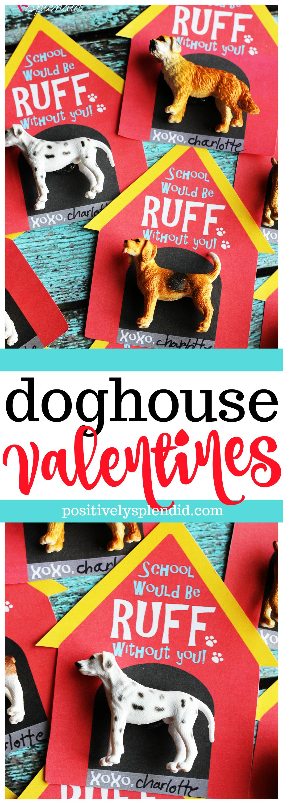 Printable Doghouse Valentine Cards for Kids