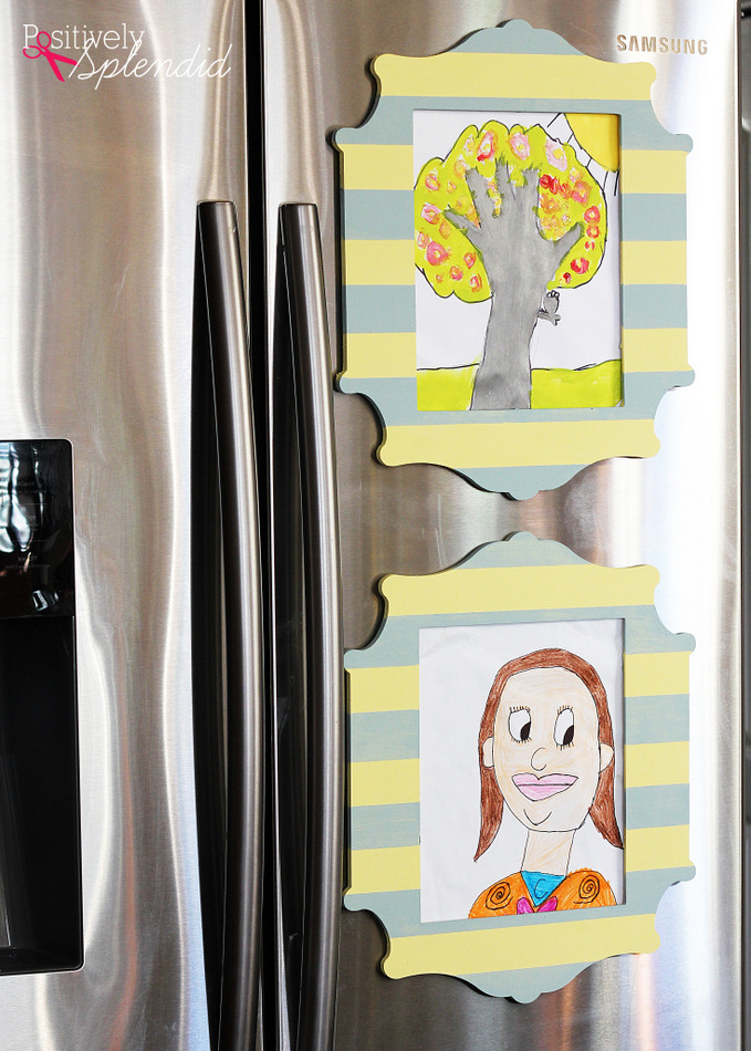 Magnetic Refrigerator Frames--A brilliant way to display kids' art in an uncluttered, tidy way!