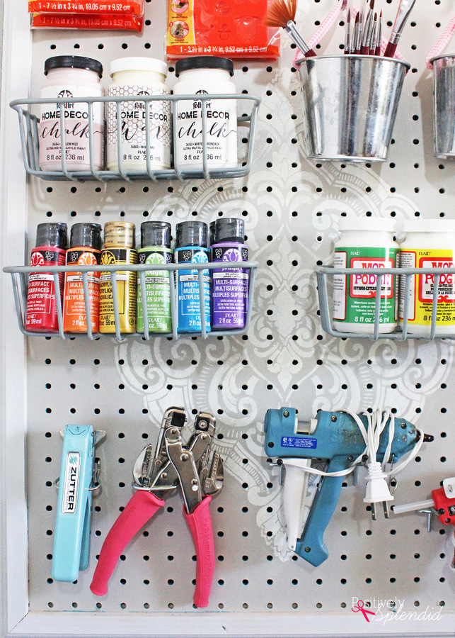 Stenciled Pegboard Craft Organizer - incredibly functional and so pretty!