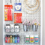 Stenciled Pegboard Craft Organizer