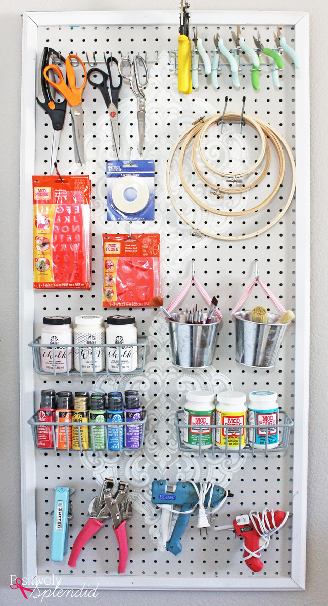 diy stenciled pegboard craft organizer