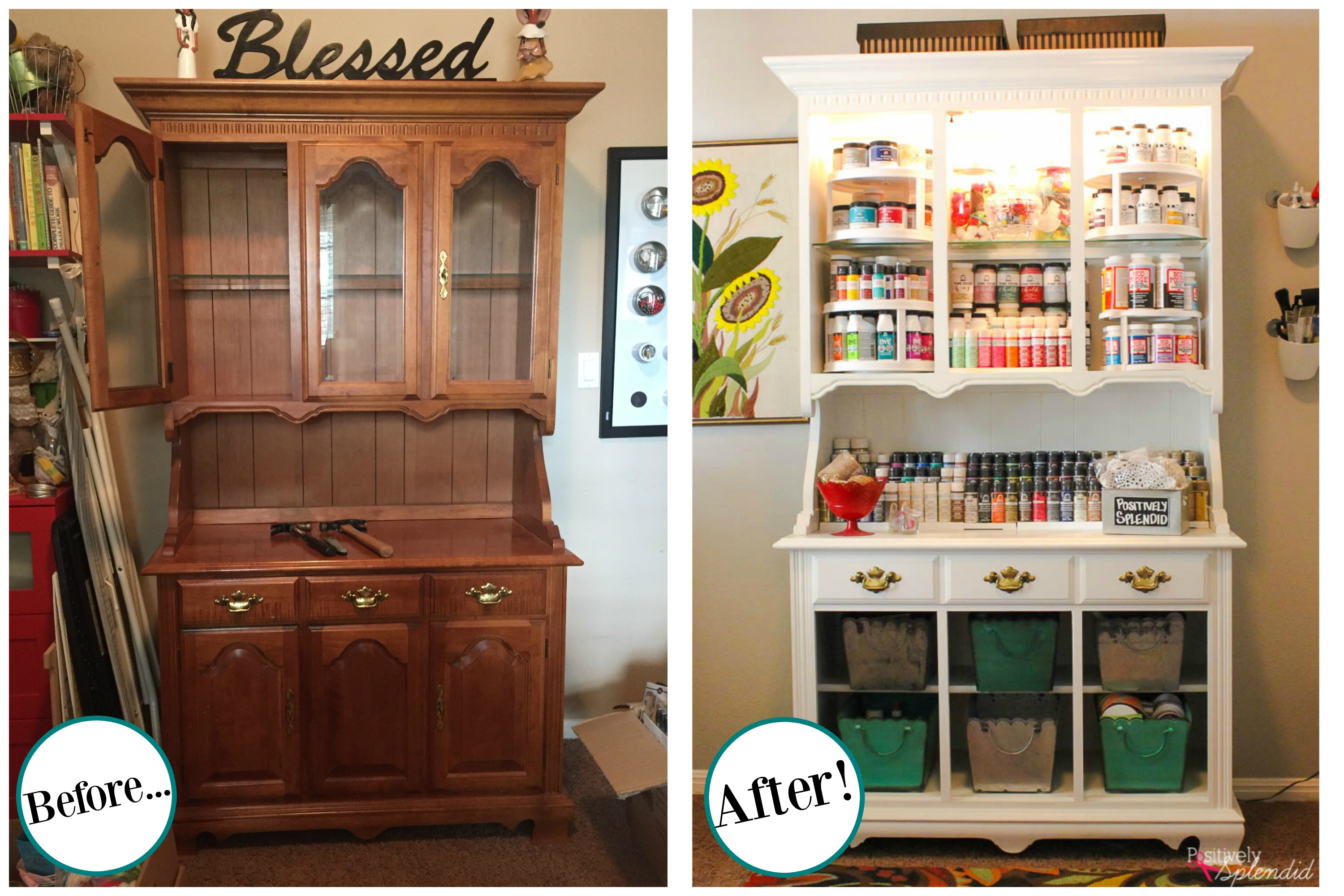 Craft storage center from and old hutch for How to store craft supplies