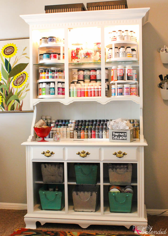 Turn an outdated hutch into a craft storage center