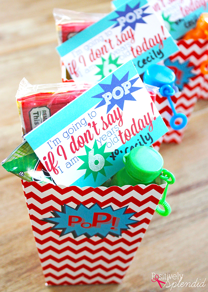 POP Party Favor Idea with Free Printables - Popcorn, ring pops and bubbles make this so much fun! #MichaelsMakers