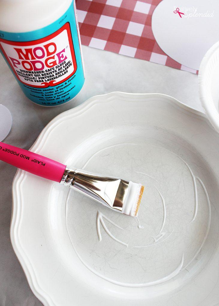 Use Dishwasher-Safe Mod Podge to spruce up worn dishes! #plaidcreators