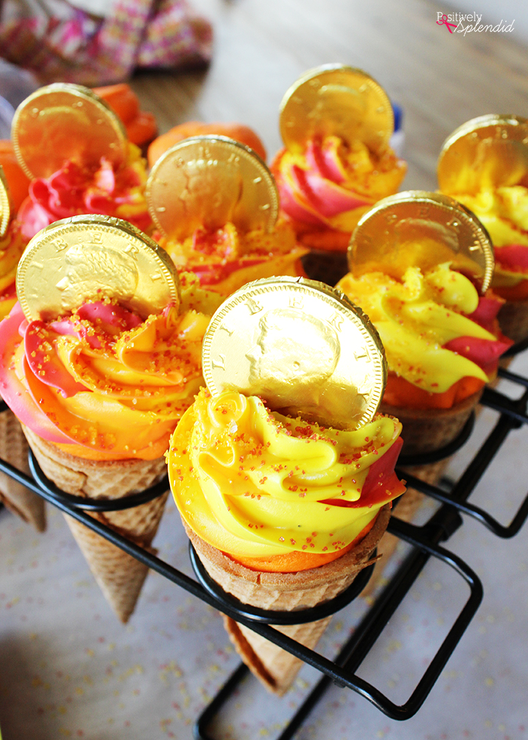 Olympic Torch Cone Cupcakes - Olympic themed party idea