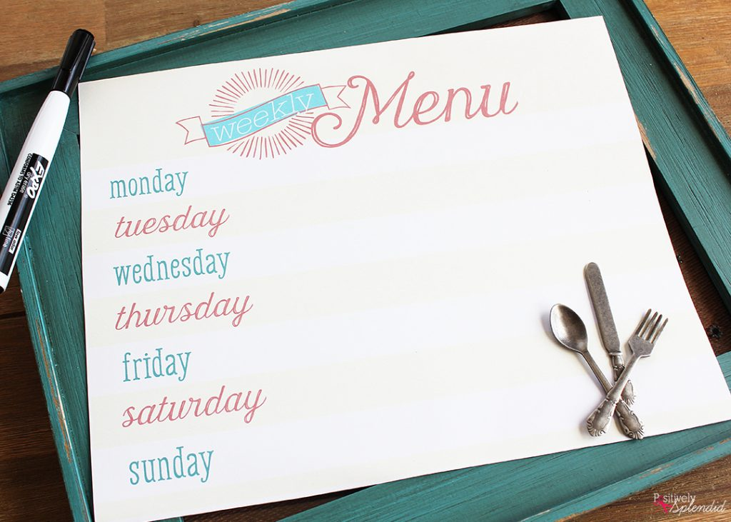Free Menu Planner Printable from Positively Splendid