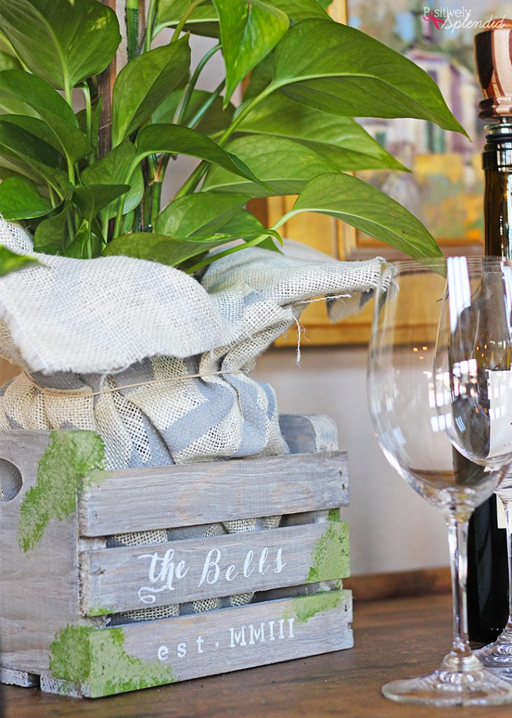 Farmhouse chic bar cart display by Positively Splendid. Beautiful and functional! #BHGLiveBetter