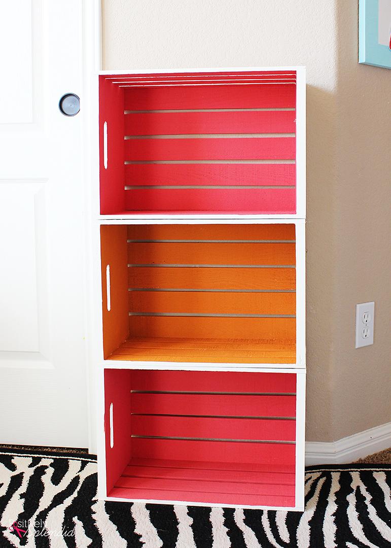 diy wood crate bookshelf. Black Bedroom Furniture Sets. Home Design Ideas
