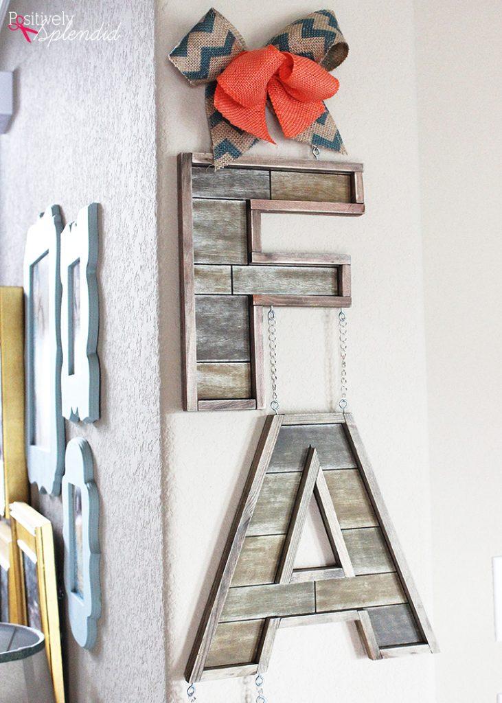 DIY Barnwood Fall Letter Sign