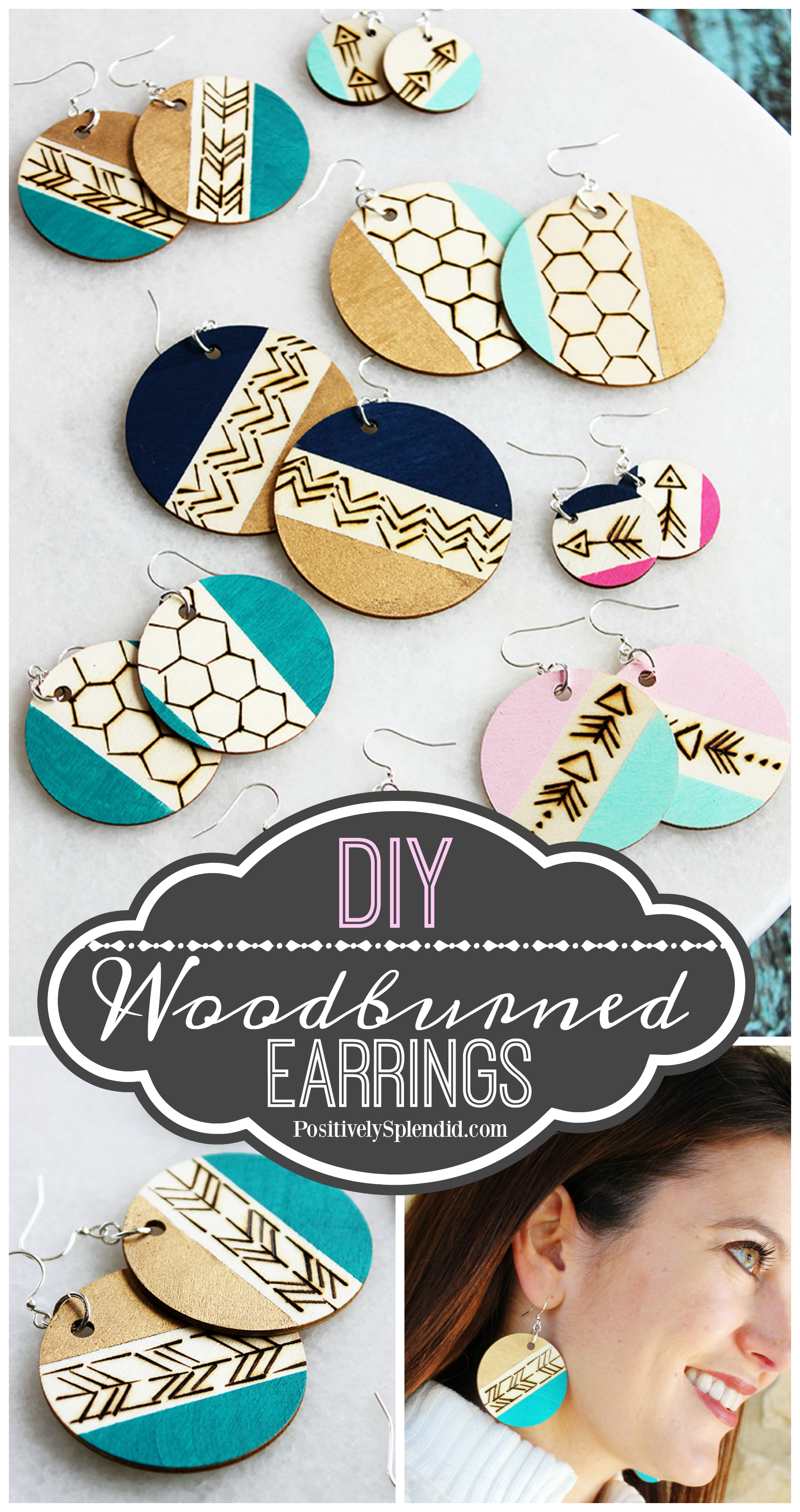DIY Woodburned Dangle Earrings - A fun gift idea to make in 30 minutes or less! #plaidcreators
