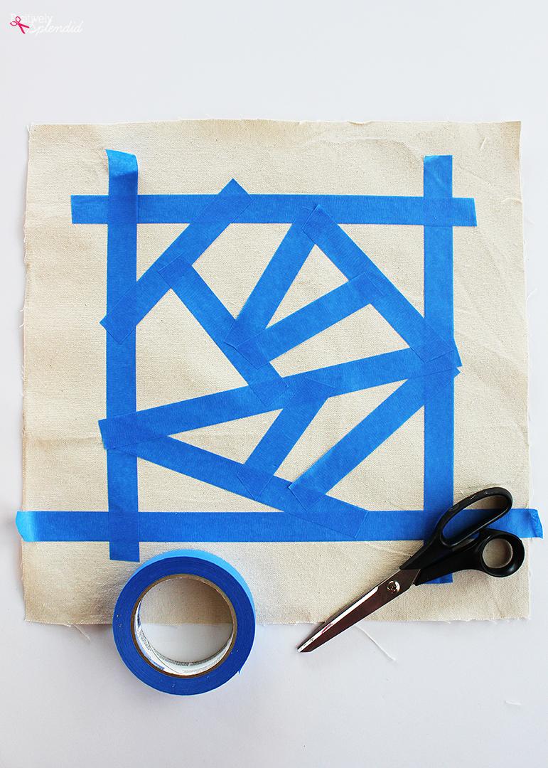 DIY Geometric Painted Pillow Tutorial by Positively Splendid #plaidcreators