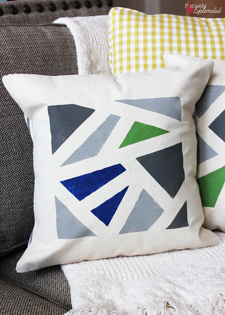 DIY Geometric Painted Pillow Tutorial by Positively Splendid #plaidcreators