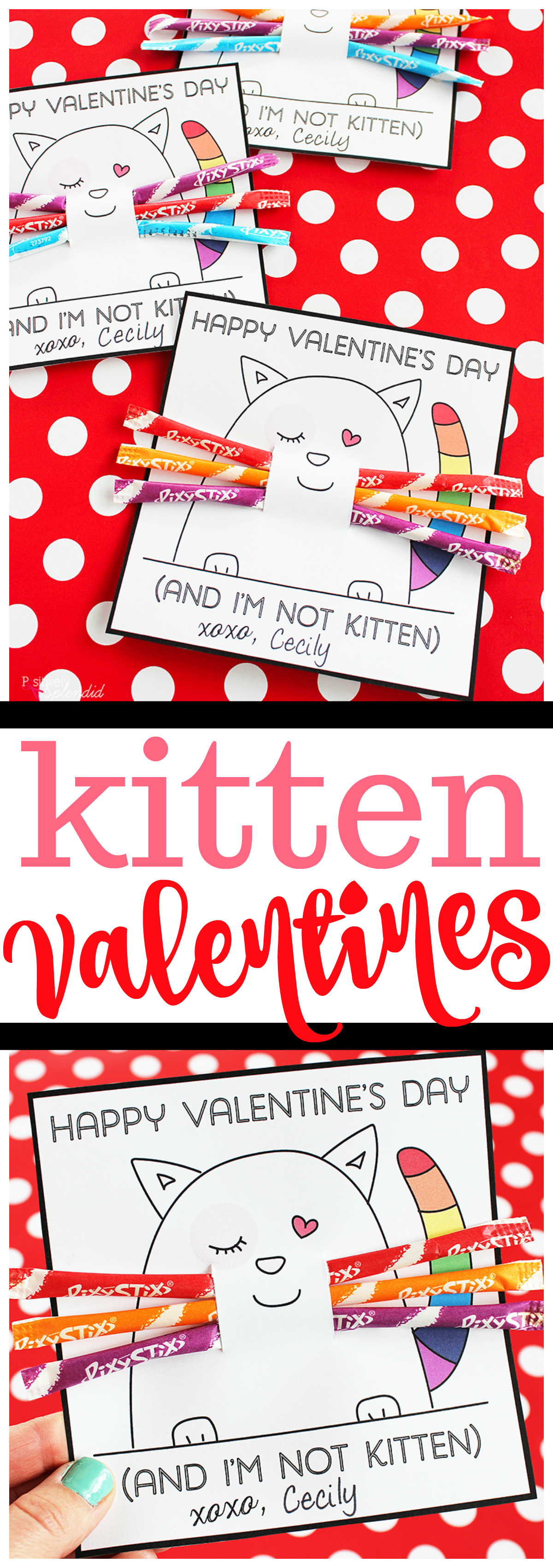 Printable kitten valentine cards for kids made with Pixy Stix