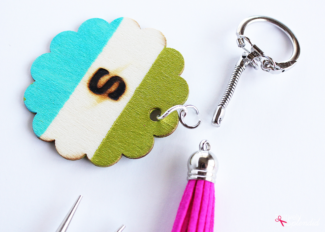 wood burned monogrammed wooden keychain tutorial