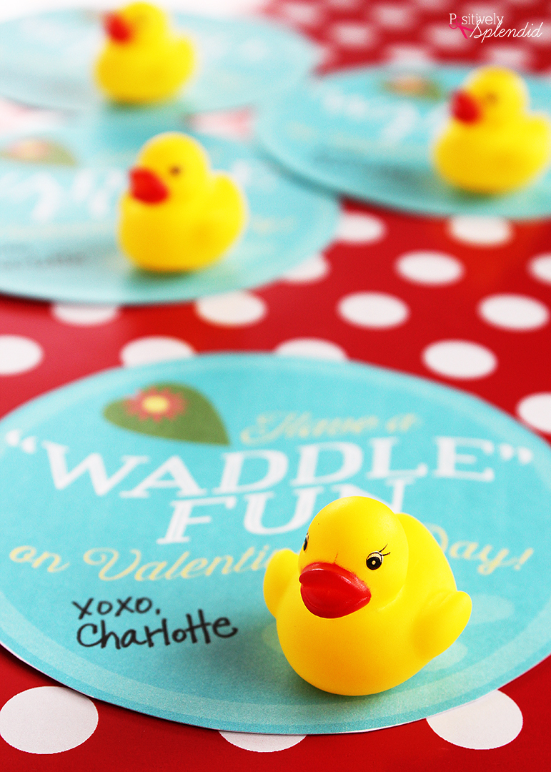 So adorable! Free rubber duck valentine printable at Positively Splendid.