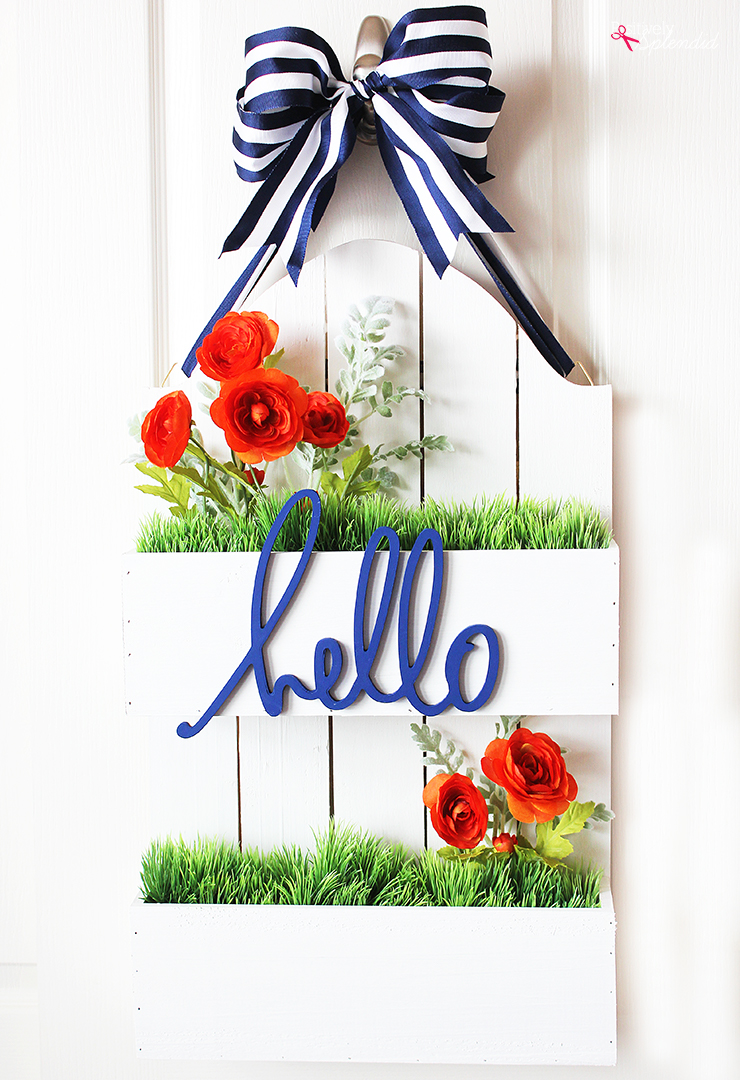 DIY Flowerbox Door Hanging at Positively Splendid. So unique and pretty! #michaelsmakers