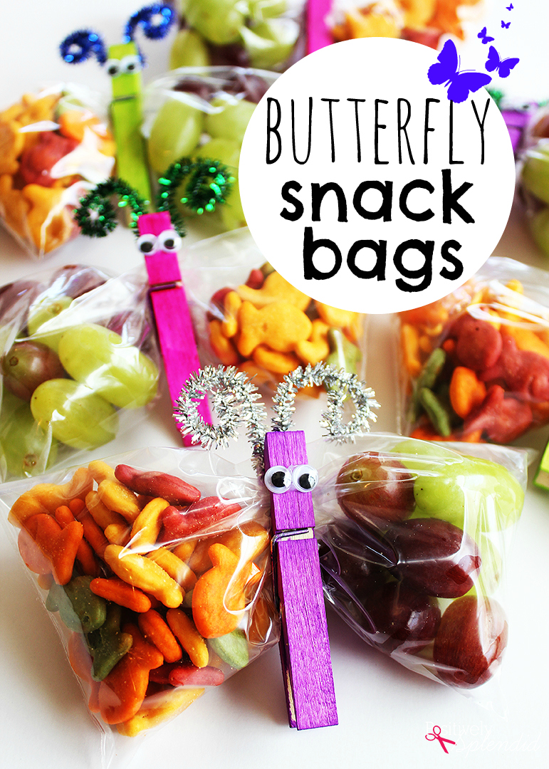 Butterfly Snack Bags - Such a fun edible craft idea for kids!