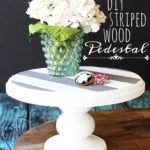 DIY Striped Wood Pedestal