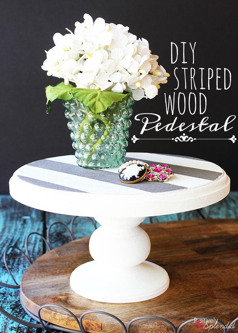 DIY Striped Wood Pedestal #PlaidCreators