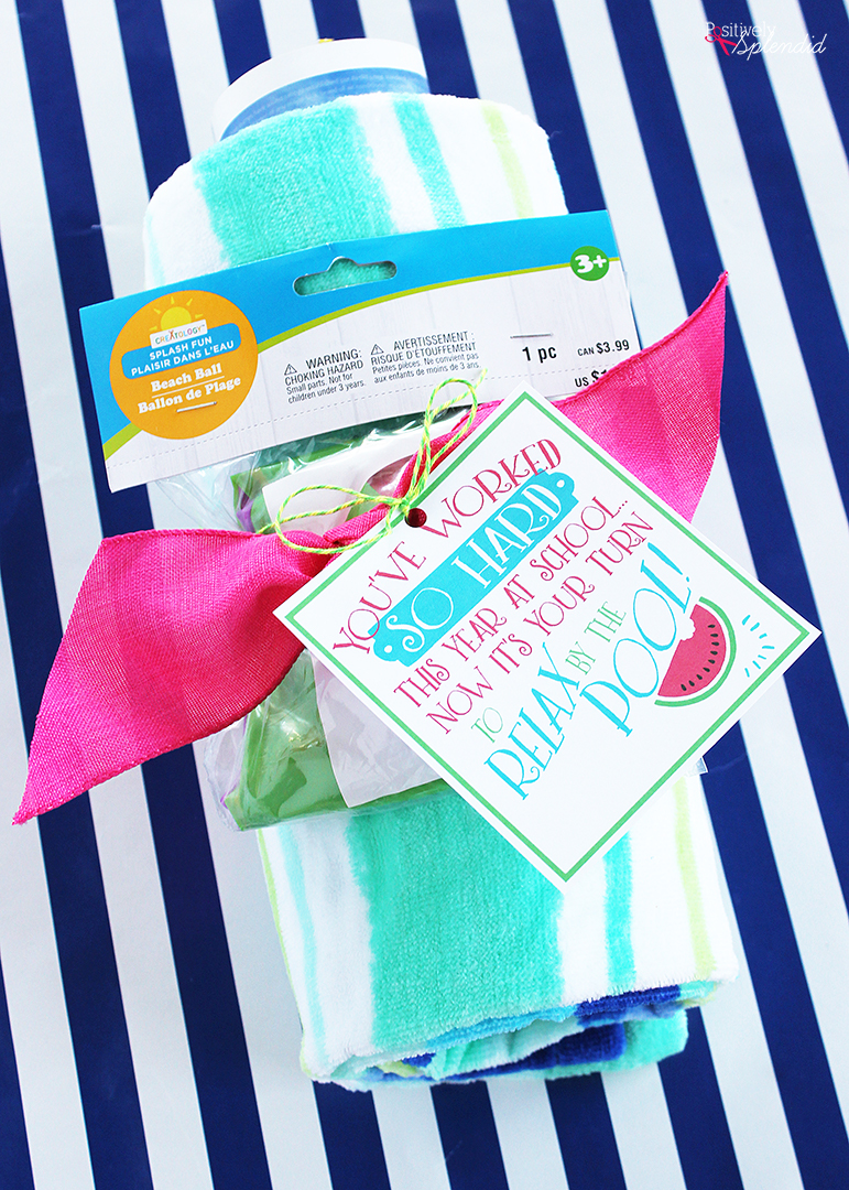 Pool Teacher Gift Idea with Free Printable Gift Tags