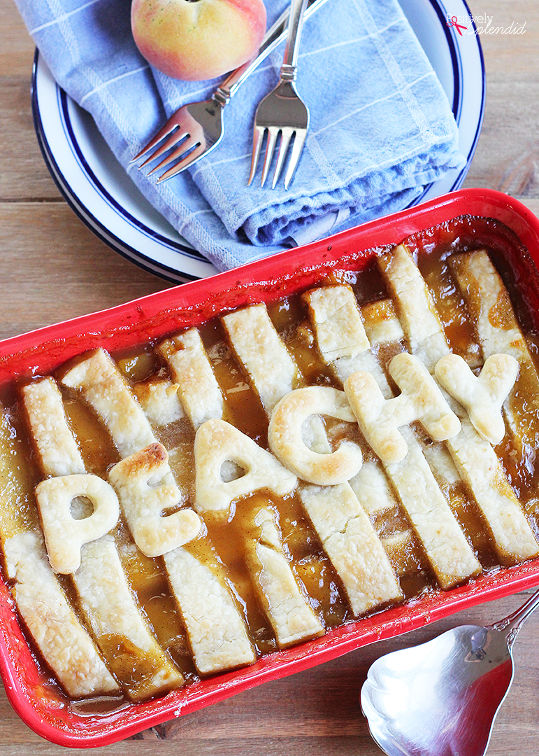 This Old-Fashioned Peach Cobbler Recipe is the BEST, with two layers of crust and a delicious fresh peach filling!
