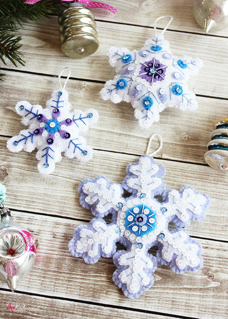 Felt Snowflake Christmas Ornaments - Made easily with a kit from Bucilla!