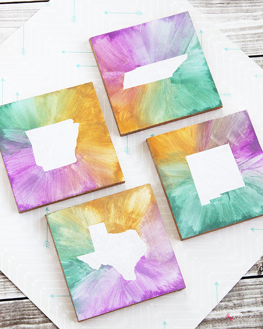 DIY Watercolor State Coasters - Easy DIY craft idea, and great for gifts!