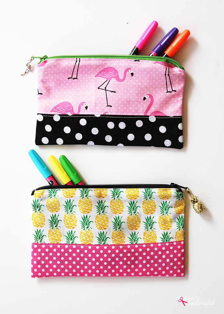 Recycled Ticking Stripe Pencil Case Handmade by Lindock Zipper Pencil Pouch
