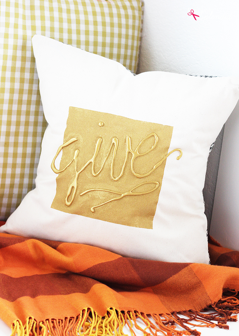 Hot Glue Embellished DIY Throw Pillow Tutorial