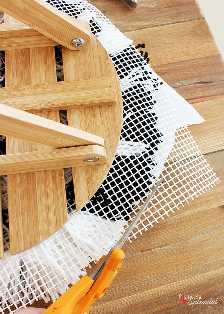 DIY Striped Shag Footstool - IKEA hack