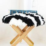 Black and White Striped Shag Footstool (IKEA Hack Idea)